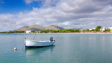 Small motorboat in Majorca sea bay