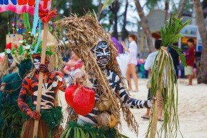Festival ATI-Atihan on Boracay, Philippines. Is celebrated every year in late January. Parade in carnival costumes.