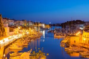 Ciutadella Menorca marina Port sunset town hall and cathedral