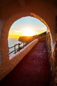 Sunset viewed from Cova d'en Xoroi at Menorca island, Spain.