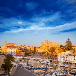 Ciutadella Menorca marina boats Port with town hall and cathedral in Balearic islands