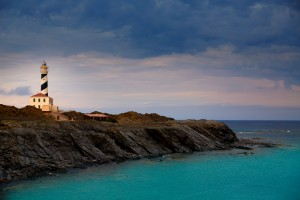 Cap de Favaritx sunset lighthouse cape in Mahon at Balearic Islands of Spain