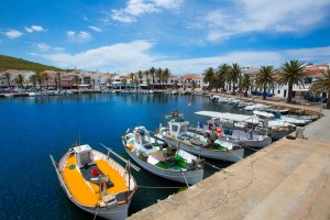 Fornells Port in Menorca marina boats Balearic islands of Spain