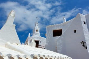 Binibequer Vell in Menorca Binibeca white village Sant Lluis at Balearic Islands